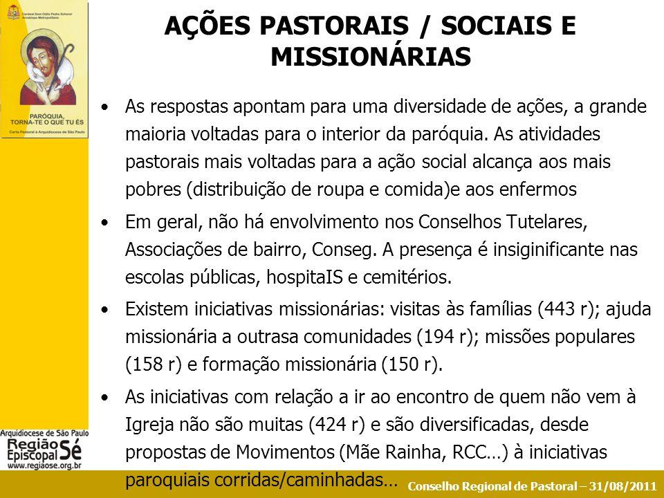 AÇÕES PASTORAIS / SOCIAIS E MISSIONÁRIAS