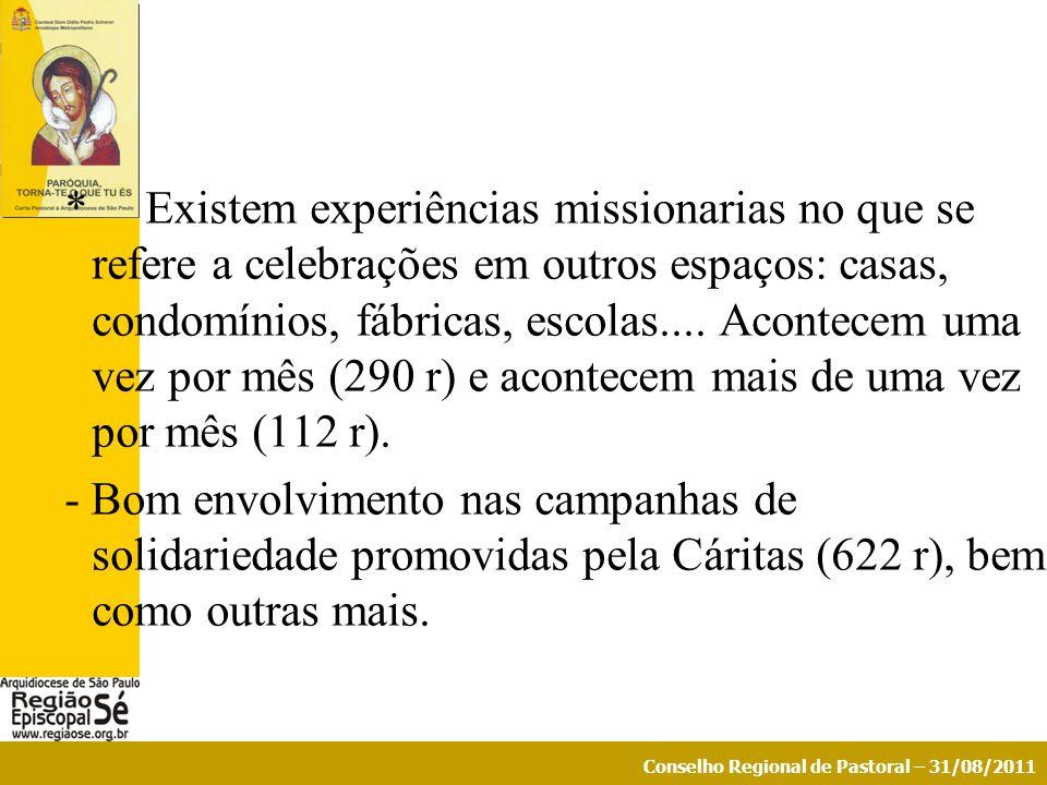 * Existem experiências missionarias no que se refere a celebrações em outros espaços: casas, condomínios, fábricas, escolas....