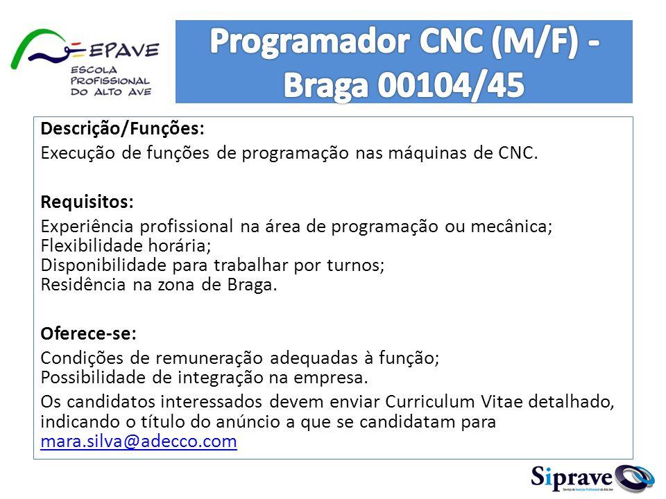 Programador CNC (M/F) - Braga 00104/45