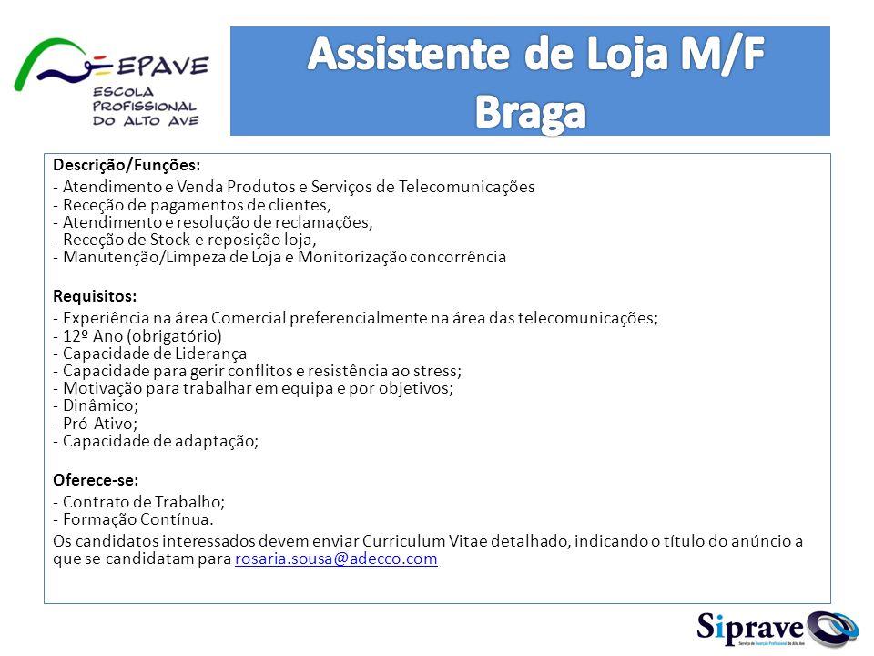 Assistente de Loja M/F Braga