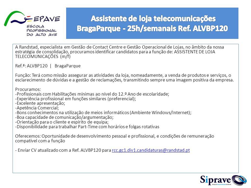 Assistente de loja telecomunicações BragaParque - 25h/semanais Ref