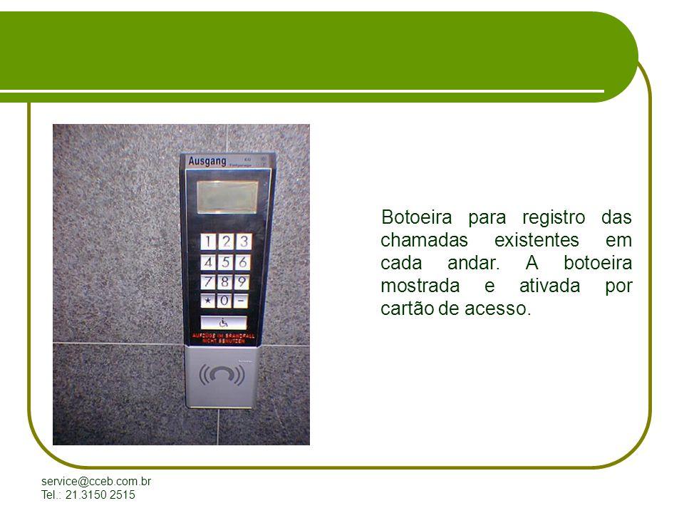 Botoeira para registro das chamadas existentes em cada andar