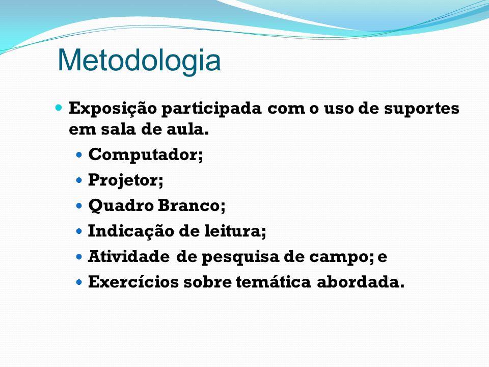 Metodologia Exposição participada com o uso de suportes em sala de aula. Computador; Projetor; Quadro Branco;
