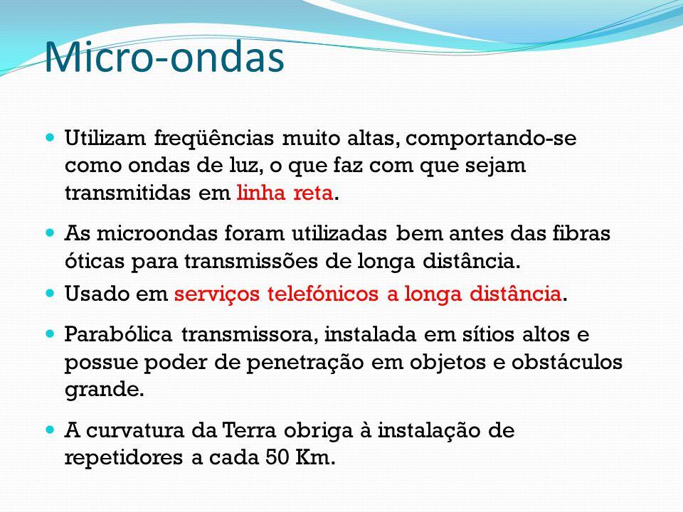 Micro-ondas Utilizam freqüências muito altas, comportando-se como ondas de luz, o que faz com que sejam transmitidas em linha reta.
