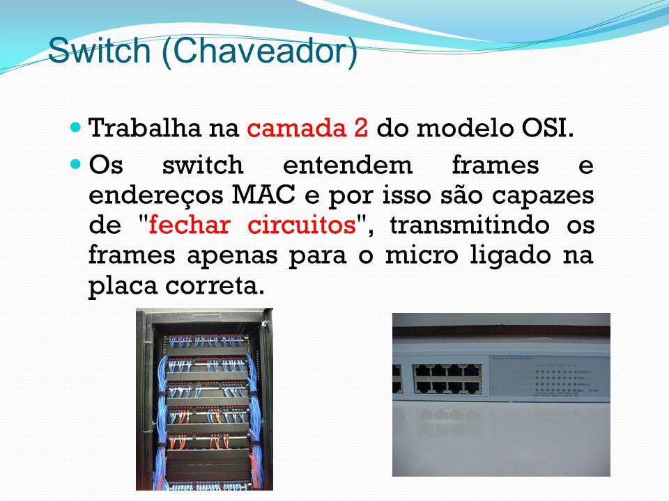 Switch (Chaveador) Trabalha na camada 2 do modelo OSI.