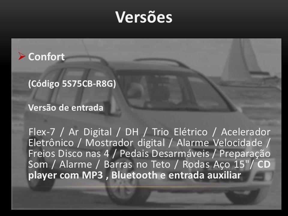 Versões Confort (Código 5S75CB-R8G) Versão de entrada