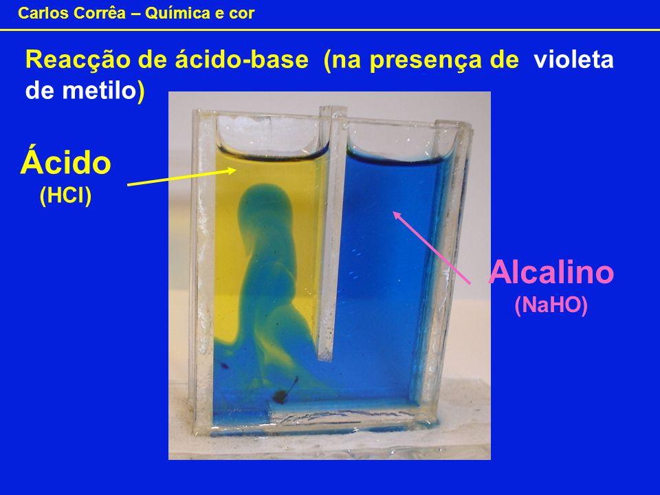 Reacção de ácido-base (na presença de violeta de metilo)