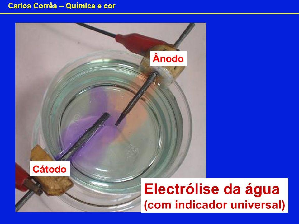 Ânodo Cátodo Electrólise da água (com indicador universal)