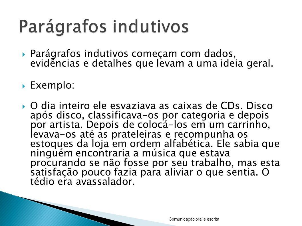 Parágrafos indutivos Parágrafos indutivos começam com dados, evidências e detalhes que levam a uma ideia geral.