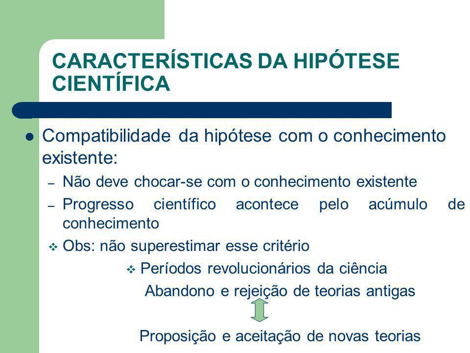 CARACTERÍSTICAS DA HIPÓTESE CIENTÍFICA