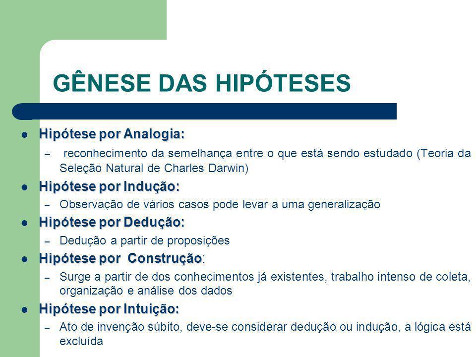 GÊNESE DAS HIPÓTESES Hipótese por Analogia: