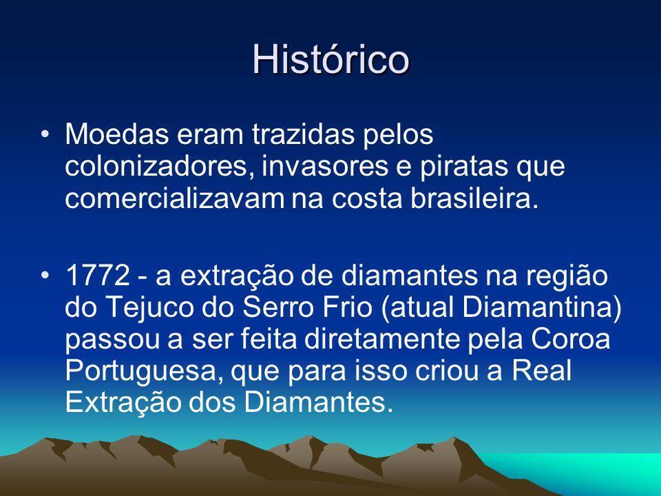 Histórico Moedas eram trazidas pelos colonizadores, invasores e piratas que comercializavam na costa brasileira.
