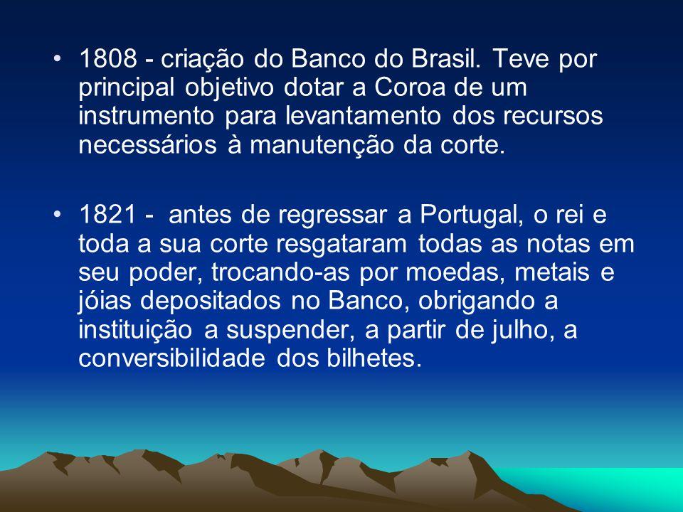 1808 - criação do Banco do Brasil