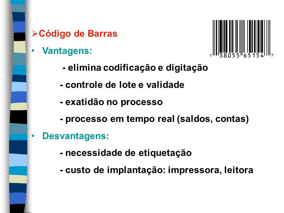 Código de Barras Vantagens: - elimina codificação e digitação. - controle de lote e validade. - exatidão no processo.