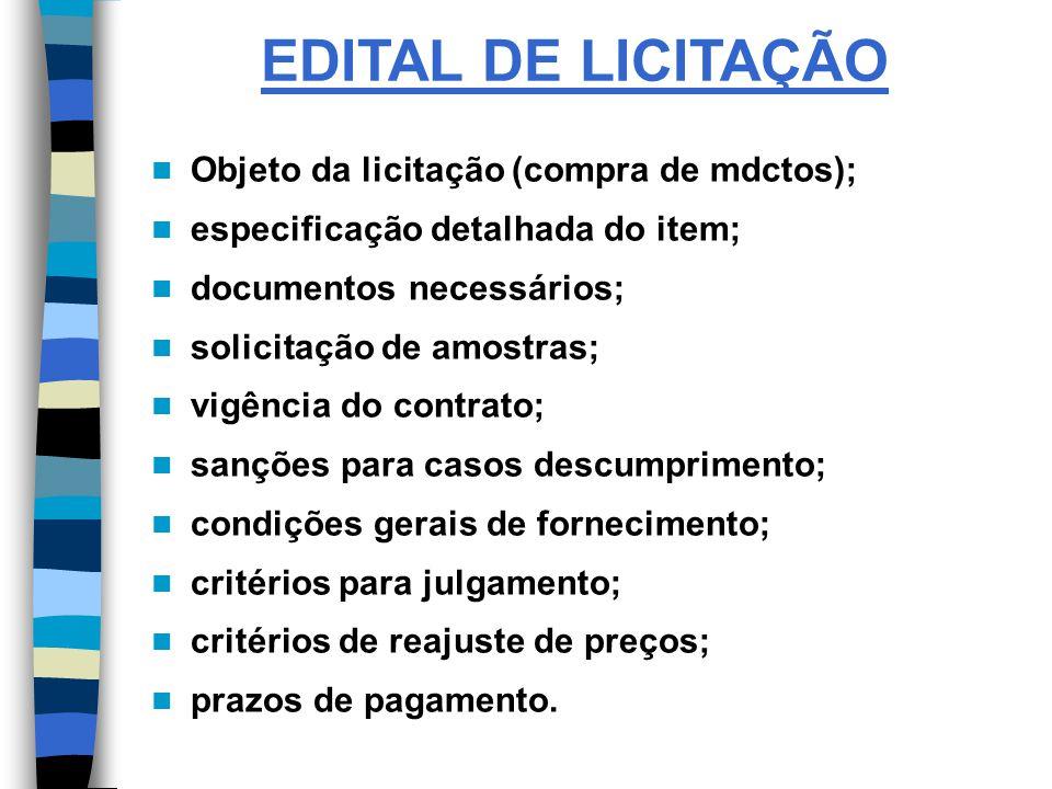 EDITAL DE LICITAÇÃO Objeto da licitação (compra de mdctos);