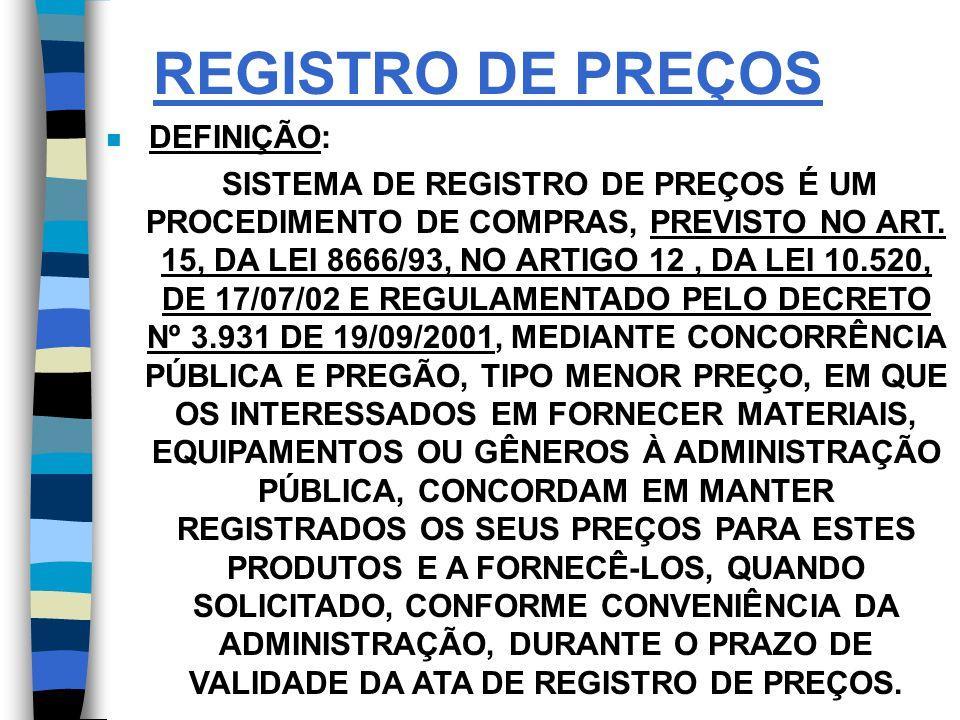 REGISTRO DE PREÇOS DEFINIÇÃO: