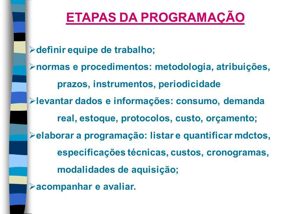 ETAPAS DA PROGRAMAÇÃO definir equipe de trabalho;