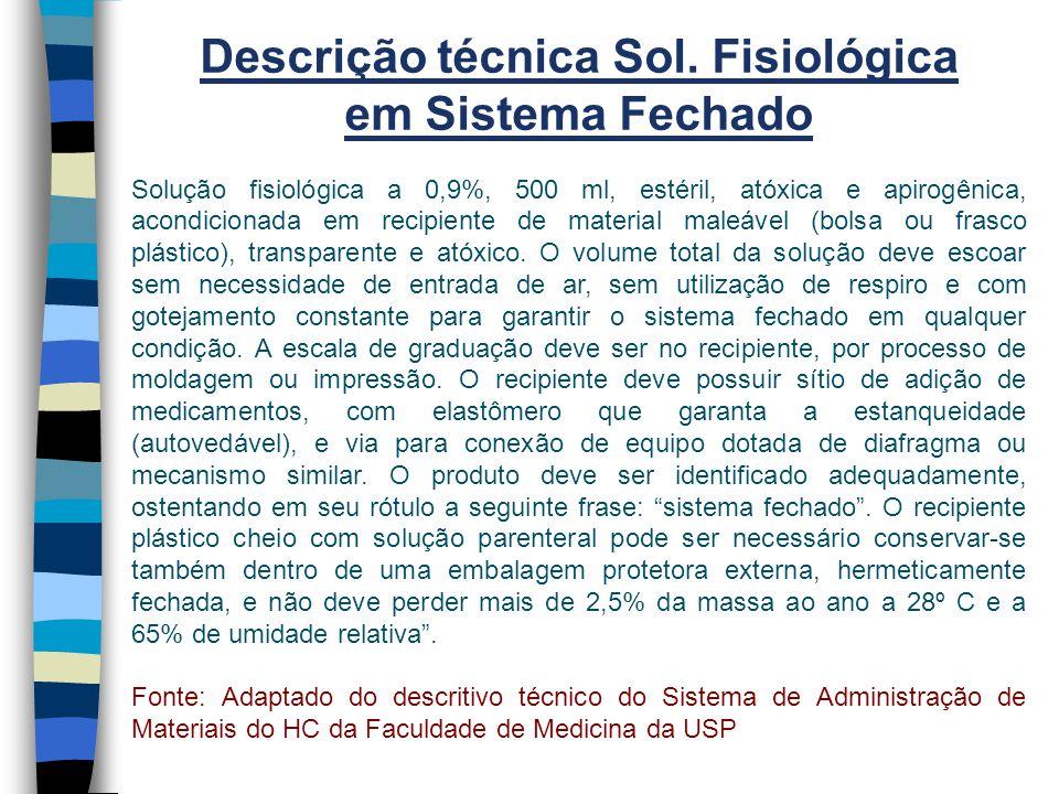Descrição técnica Sol. Fisiológica