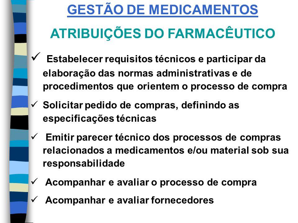 GESTÃO DE MEDICAMENTOS ATRIBUIÇÕES DO FARMACÊUTICO