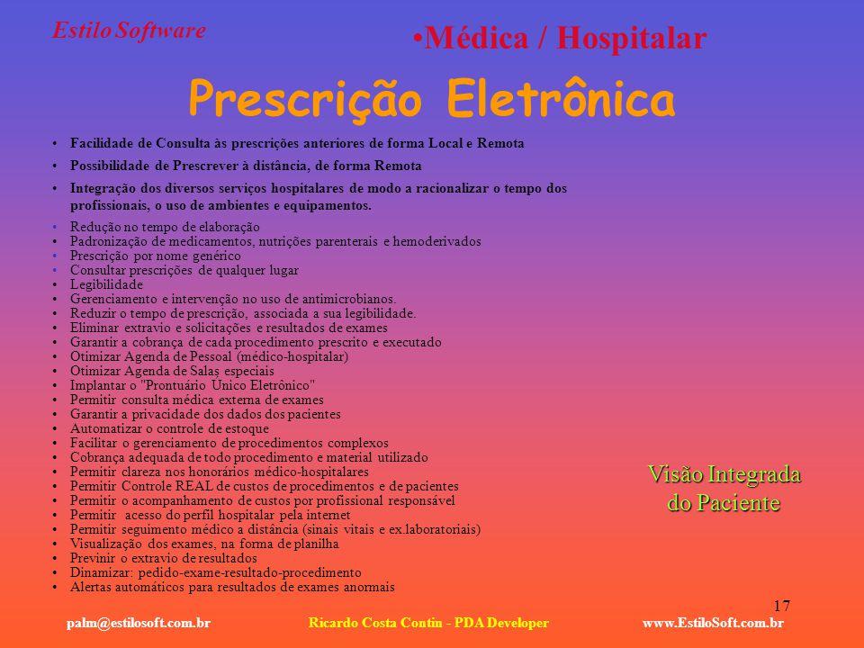 Prescrição Eletrônica Ricardo Costa Contin - PDA Developer
