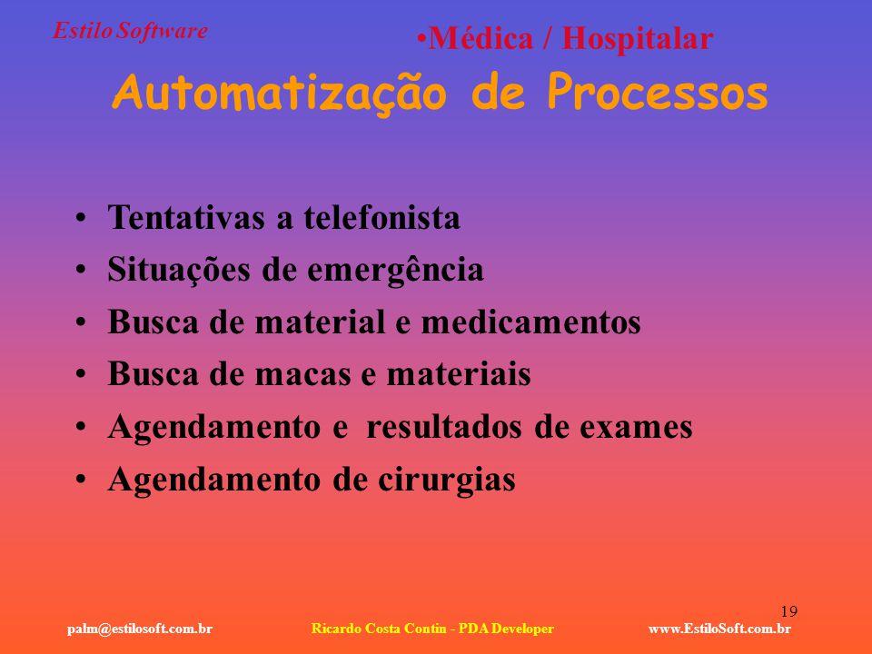 Automatização de Processos Ricardo Costa Contin - PDA Developer
