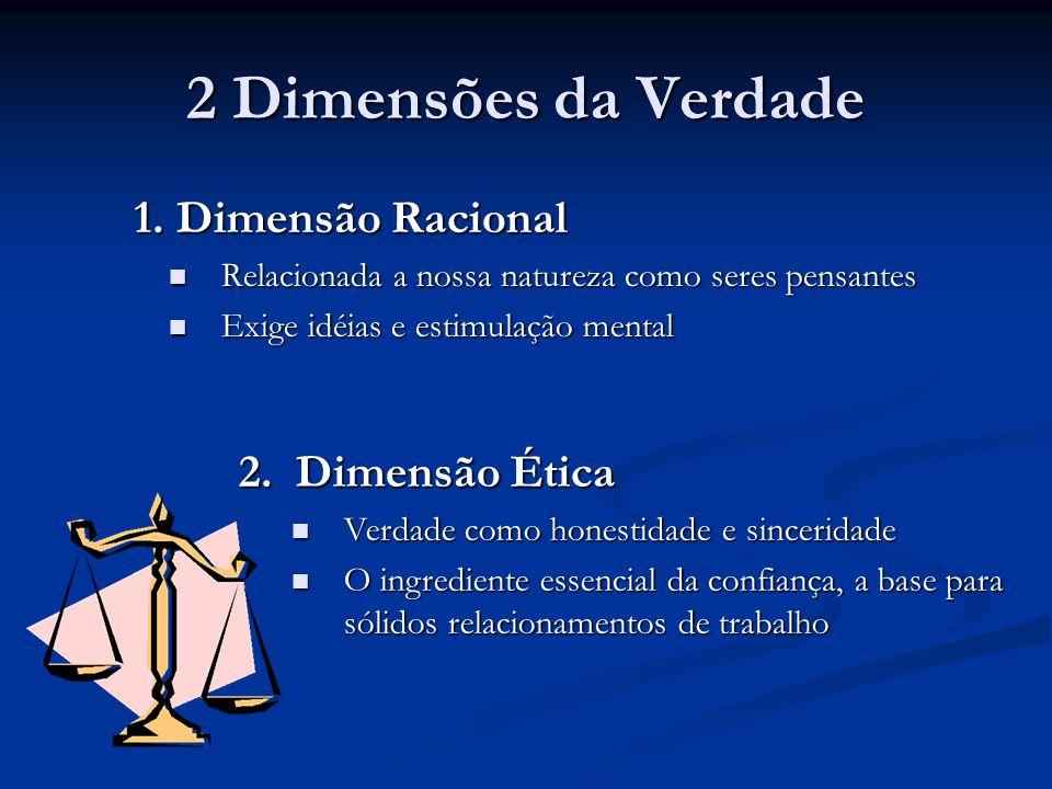 2 Dimensões da Verdade 1. Dimensão Racional 2. Dimensão Ética