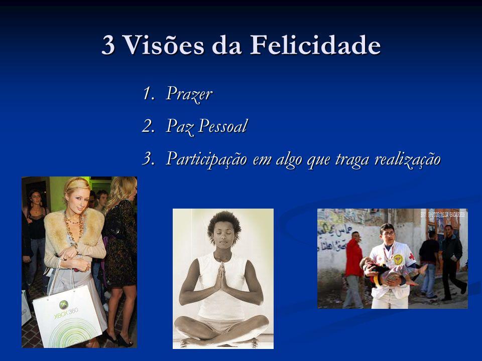 3 Visões da Felicidade 1. Prazer 2. Paz Pessoal