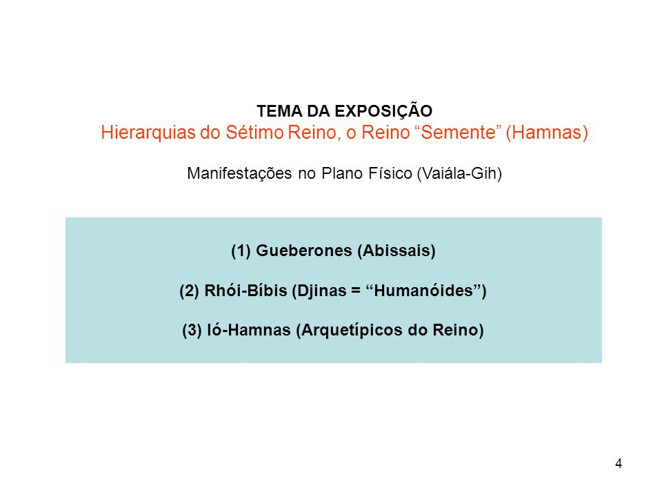 (1) Gueberones (Abissais) (2) Rhói-Bíbis (Djinas = Humanóides )