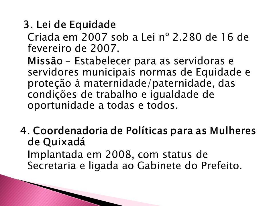 3. Lei de Equidade Criada em 2007 sob a Lei nº 2