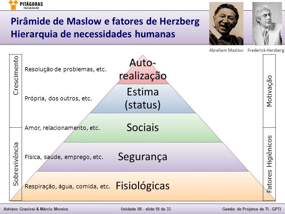 Auto-realização Estima (status) Sociais Segurança Fisiológicas