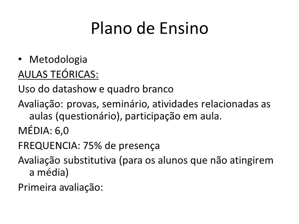 Plano de Ensino Metodologia AULAS TEÓRICAS: