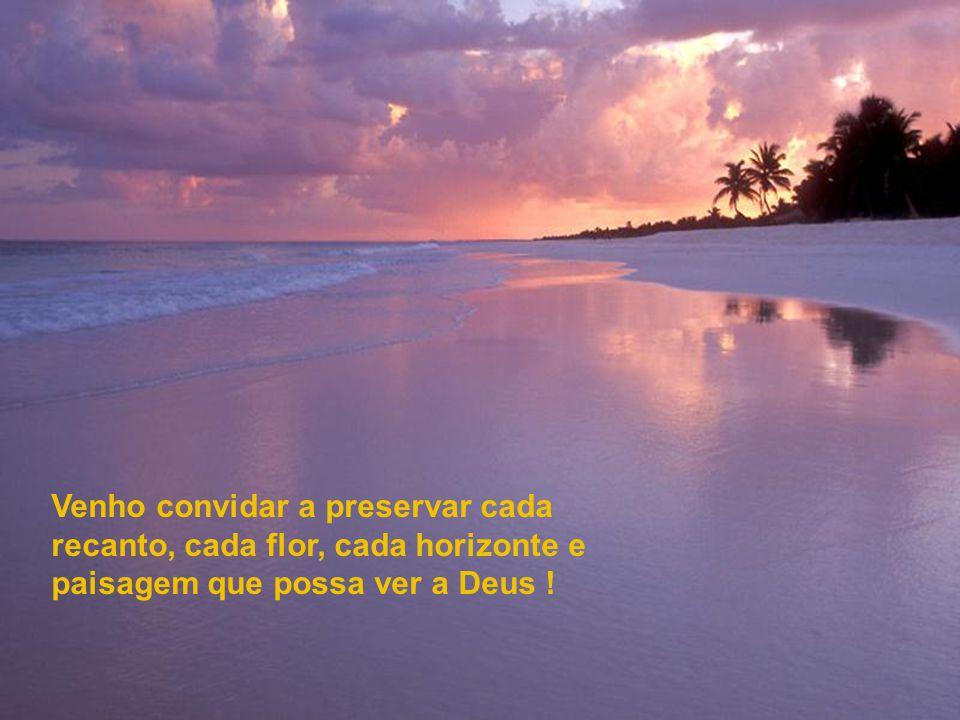 Venho convidar a preservar cada recanto, cada flor, cada horizonte e paisagem que possa ver a Deus !