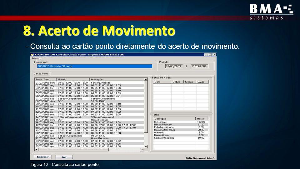 8. Acerto de Movimento - Consulta ao cartão ponto diretamente do acerto de movimento.