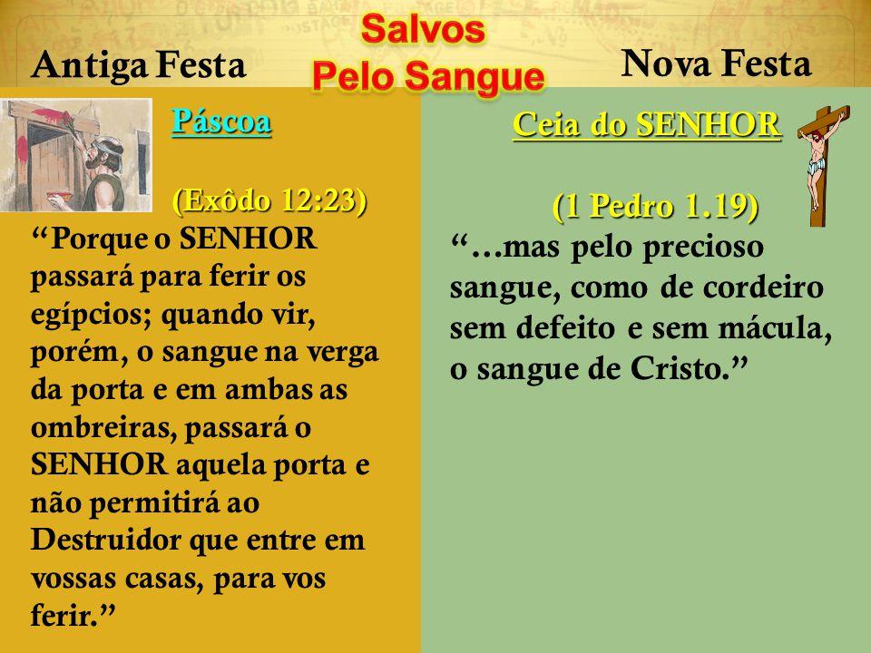 Salvos Pelo Sangue Antiga Festa Nova Festa Páscoa Ceia do SENHOR