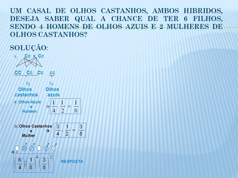 UM CASAL DE OLHOS CASTANHOS, AMBOS HIBRIDOS, DESEJA SABER QUAL A CHANCE DE TER 6 FILHOS, SENDO 4 HOMENS DE OLHOS AZUIS E 2 MULHERES DE OLHOS CASTANHOS