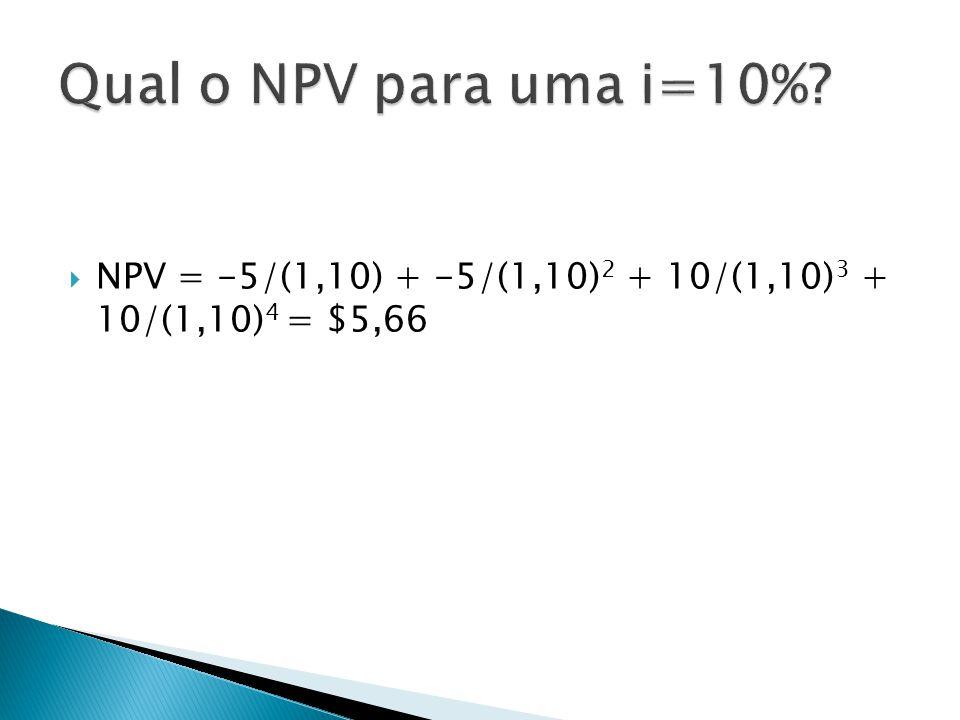 Qual o NPV para uma i=10% NPV = -5/(1,10) + -5/(1,10)2 + 10/(1,10)3 + 10/(1,10)4 = $5,66
