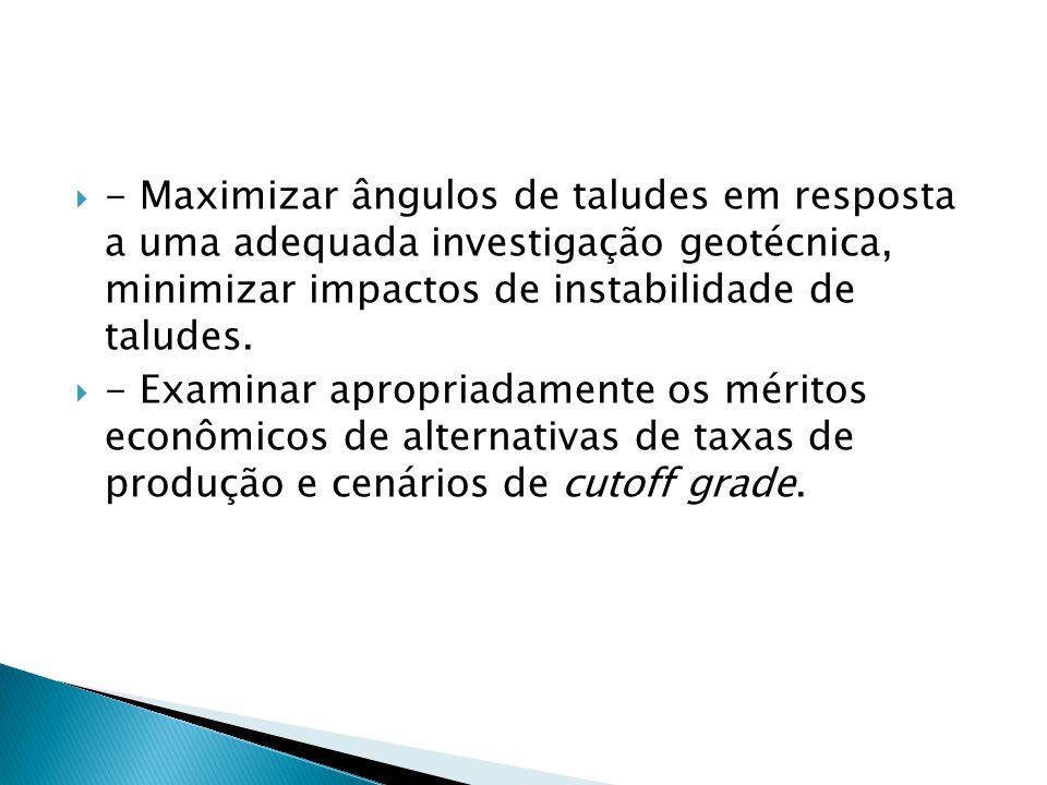 - Maximizar ângulos de taludes em resposta a uma adequada investigação geotécnica, minimizar impactos de instabilidade de taludes.