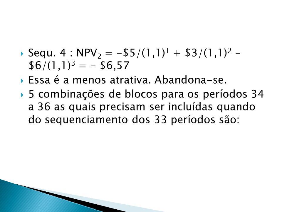 Sequ. 4 : NPV2 = -$5/(1,1)1 + $3/(1,1)2 - $6/(1,1)3 = - $6,57