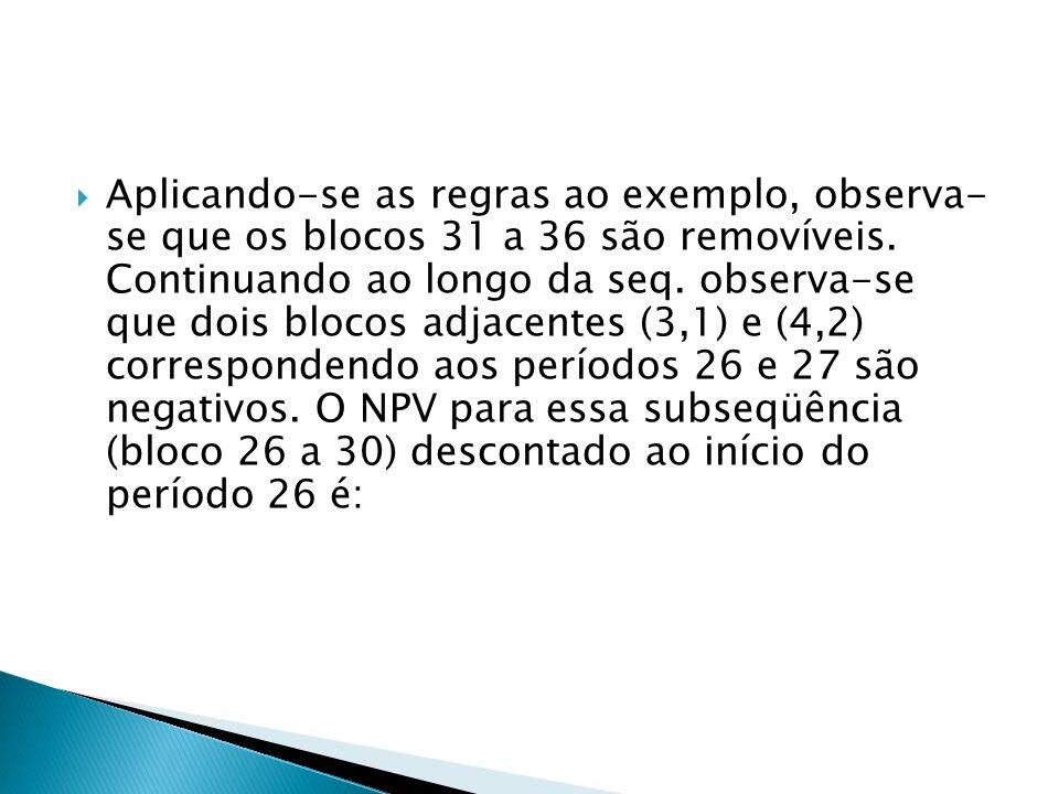 Aplicando-se as regras ao exemplo, observa- se que os blocos 31 a 36 são removíveis.