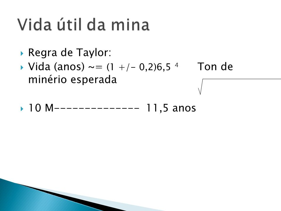 Vida útil da mina Regra de Taylor: