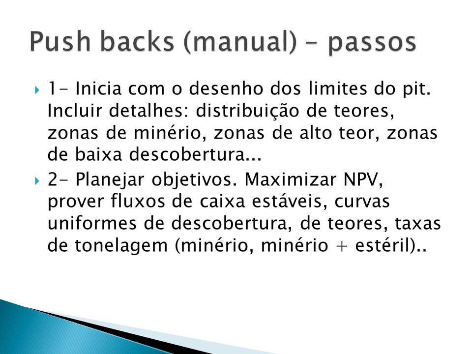 Push backs (manual) – passos