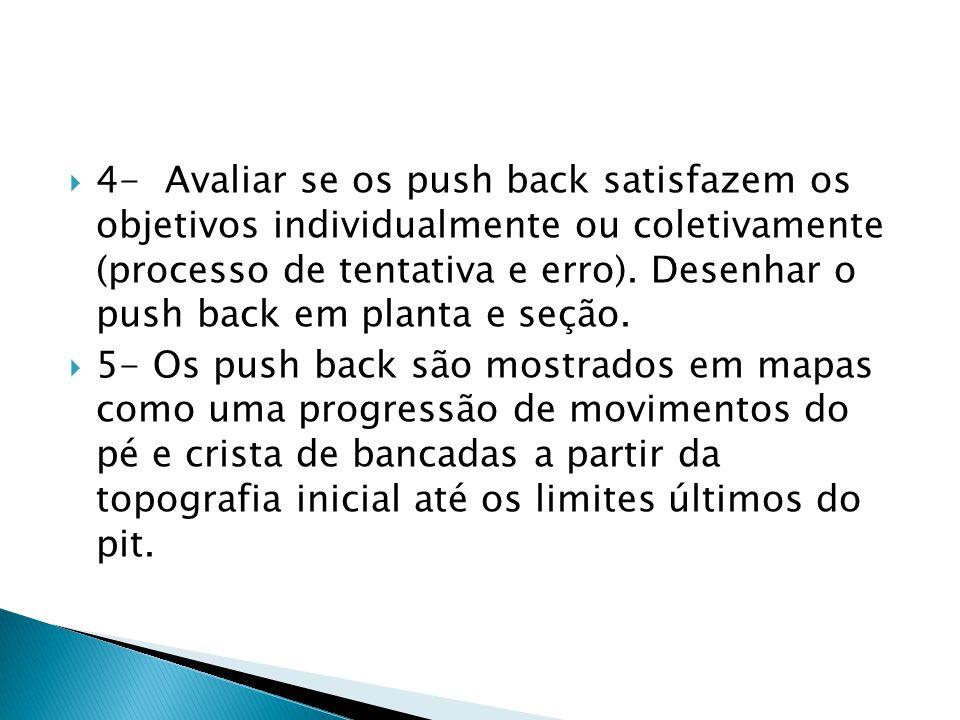 4- Avaliar se os push back satisfazem os objetivos individualmente ou coletivamente (processo de tentativa e erro). Desenhar o push back em planta e seção.