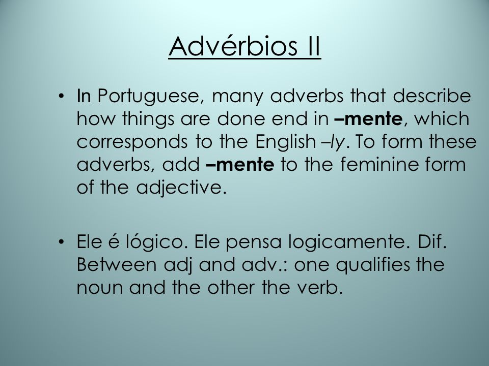 Advérbios II