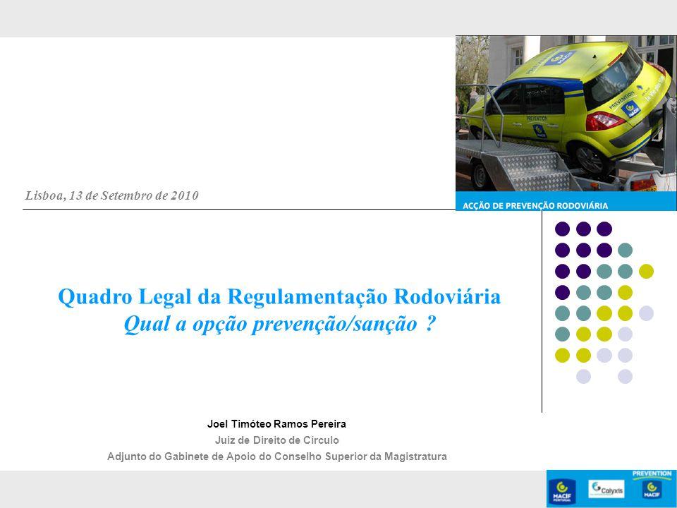 Lisboa, 13 de Setembro de 2010 Quadro Legal da Regulamentação Rodoviária Qual a opção prevenção/sanção