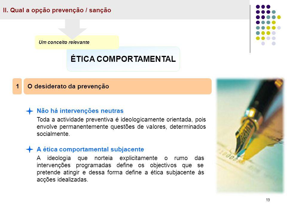 ÉTICA COMPORTAMENTAL II. Qual a opção prevenção / sanção 1