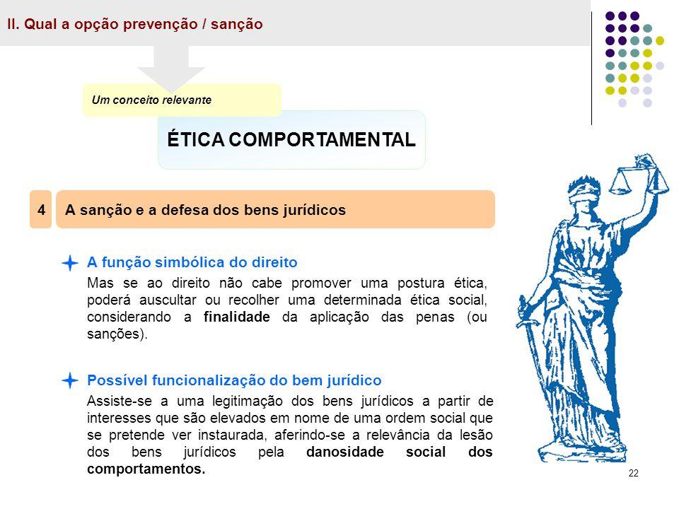 ÉTICA COMPORTAMENTAL II. Qual a opção prevenção / sanção 4