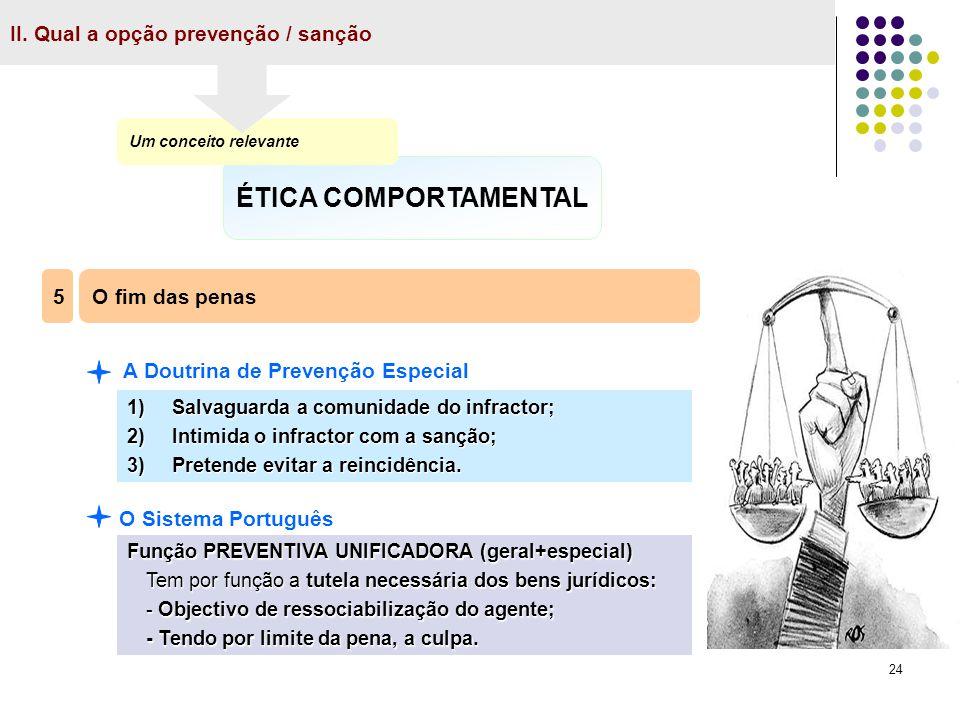 ÉTICA COMPORTAMENTAL II. Qual a opção prevenção / sanção 5