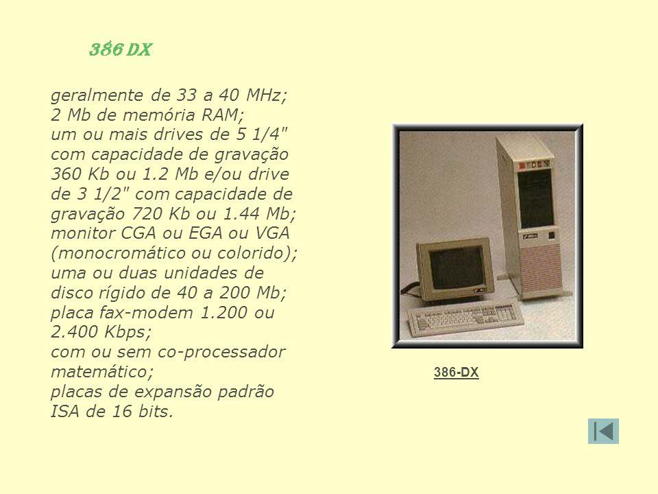 386 DX geralmente de 33 a 40 MHz; 2 Mb de memória RAM;