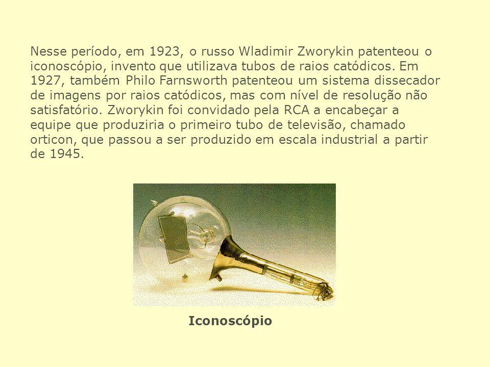Nesse período, em 1923, o russo Wladimir Zworykin patenteou o iconoscópio, invento que utilizava tubos de raios catódicos. Em 1927, também Philo Farnsworth patenteou um sistema dissecador de imagens por raios catódicos, mas com nível de resolução não satisfatório. Zworykin foi convidado pela RCA a encabeçar a equipe que produziria o primeiro tubo de televisão, chamado orticon, que passou a ser produzido em escala industrial a partir de 1945.