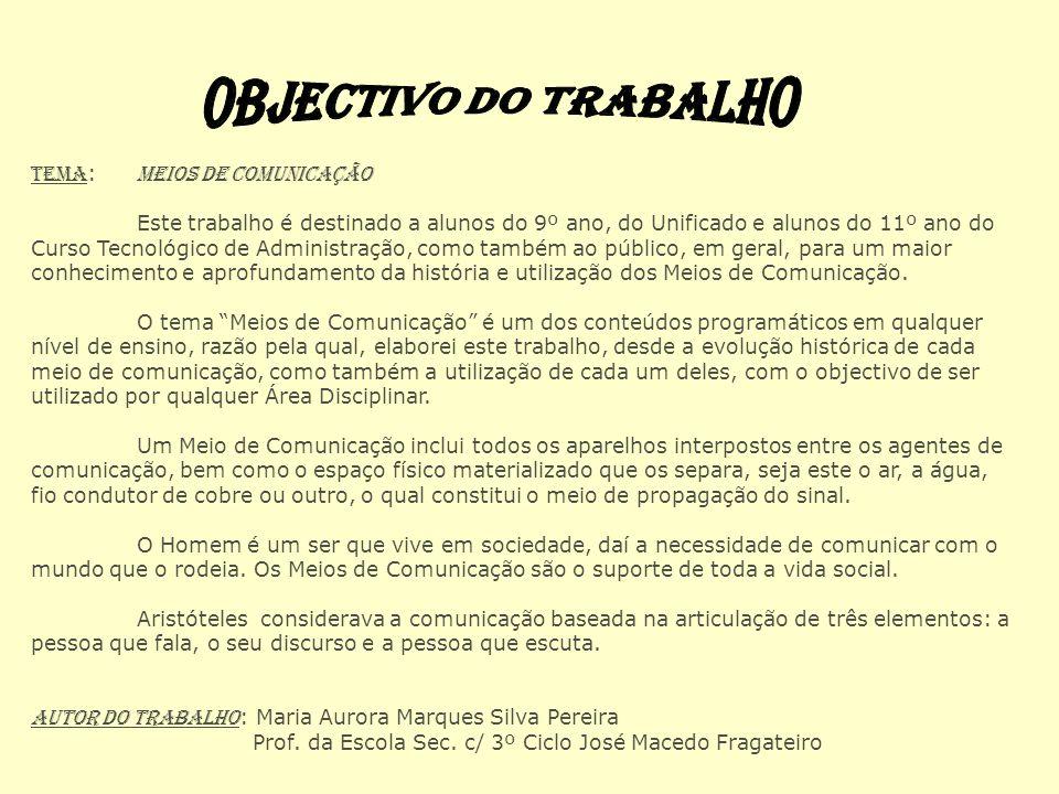 OBJECTIVO DO TRABALHO Tema: Meios de Comunicação